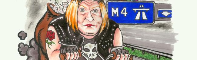 Cynllun £1b Edwina Hart ar yr M4  – Cartŵn gan Rhys Aneurin